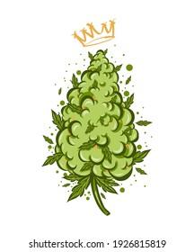 Cute funny  happy marijuana weed bud with cannabis vape.Vector flat cartoon character illustration icon design. Cannabis with graffiti crown Isolated on white background.Weed bud,marijuana,medical bud
