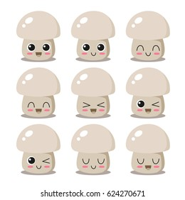 Cute, funny and happy mushroom set character. Vegetables vector illustration