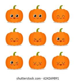 Cute, funny and happy pumpkin set character. Vegetables vector illustration
