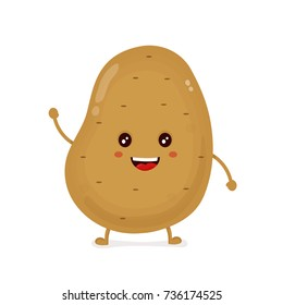 Cute funny happy smiling funny potato. Vector flat cartoon character illustration icon design.Isolated on white background.Potato farm smile happy face mascot vegetable,root,chip cartoon logo concept