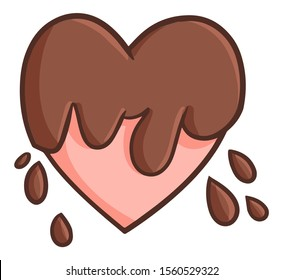 Cute and funny heart splattered with chocolate