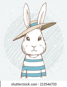 Cute funny hipster rabbit in hat on abstract background