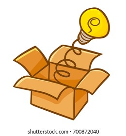 Cute and funny idea lamp coming out from brown box - vector.