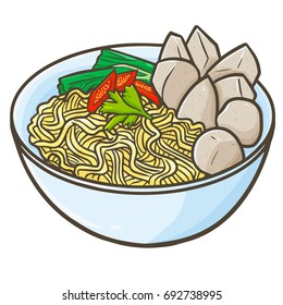 "Cute and funny Indonesian cuisine ""Mie Bakso"" or meatballs. A traditional food from Java. Eat with noodles. Made from flour, and many spices. Taste so delicious. - vector."