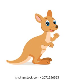 Cute Funny Kangaroo Vector Illustration. Cartoon Australian Animals Vector.Cute Wallaroo.
