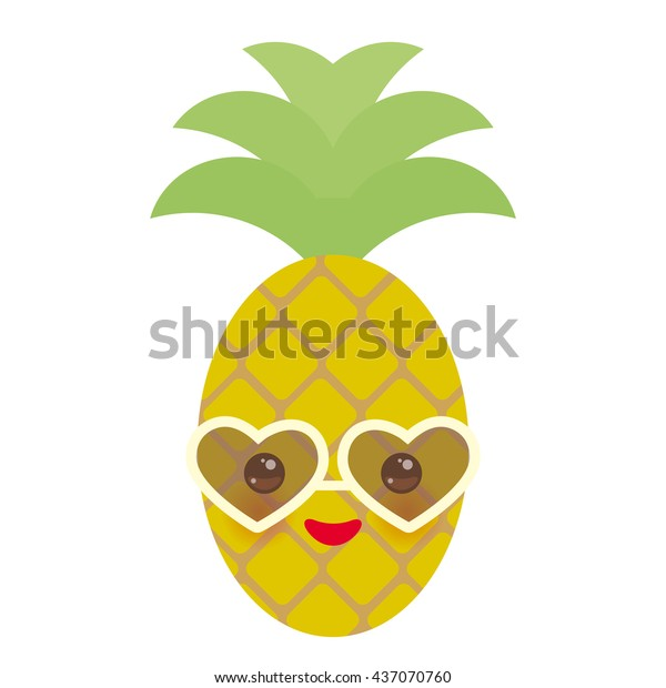 Cute Funny Kawaii Exotic Fruit Pineapple Stock Vector