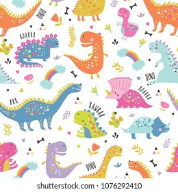 Cute funny kids dinosaurs pattern. Colorful dinosaurs vector background. Backdrop for textile and fabric.