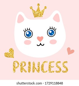 Cute funny kitty face with a golden glitter crown and 'princess' lettering inscription. Scandinavian style flat design, vector illustration for children's print, poster or card