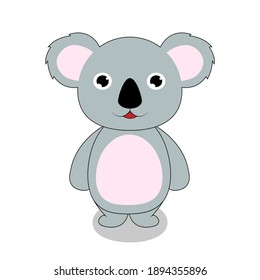 Cute funny koala is standing and smiling. Wild animals. Marsupials. Vector illustration isolated on white background.