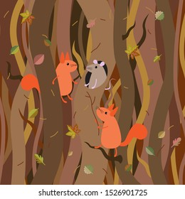 Cute funny little cartoon squirrels find a mouse in their nest