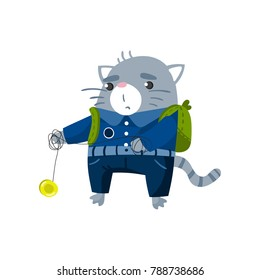 Cute funny little cat student playing yoyo toy, pupil animal in school uniform, back to school concept vector Illustration