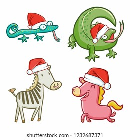 Cute and funny lizzards & horses wearing Santa's hat for christmas celebration - vector