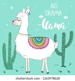 Cute funny llama or alpaca. Poster of t-shirt template. Funny text No Drama Llama