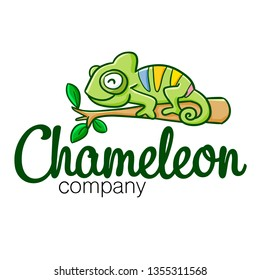 Cute and funny logo for chameleon store or company