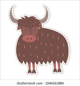 Cute funny long-haired himalayan bull, wold or yak vector flat cartoon sticker or icon outlined with dotted line isolated on white. Domestic animal or pet illustration for game counters, price tags