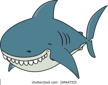 Cute funny looking Great white shark illustration.isolated on white background