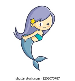 Cute and funny mermaid smiling and blinking her eye - vector