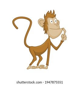 Cute funny monkey colorful cartoon illustration. Vector little chimpanzee. Wildlife character. Ape stands and thinking