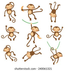 Cute funny monkeys  colorful collection. vector illustration