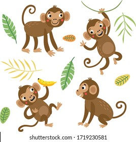 Cute and funny monkeys. Set of vector characters.
