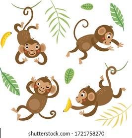 可愛くて面白い猿。ベクター文字のセット。