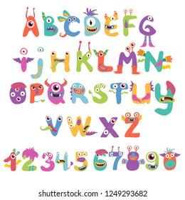 Cute and funny monster alphabet and numbers. Children cartoon characters. Vector illustration.