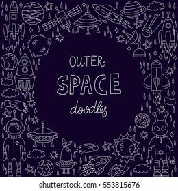 Cute funny outer space doodles cosmos symbols rockets spaceship alien astronaut