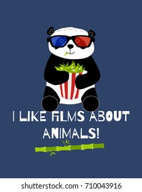 Cute and funny panda with 3d glasses ans bamboo popcorn is watching cinema card. Doodle hand drawn style. Vector illustration.