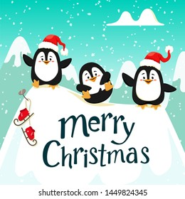 Cute funny penguins in red hats on the ice. Handwriting text, lettering. Christmas. Vector illustration