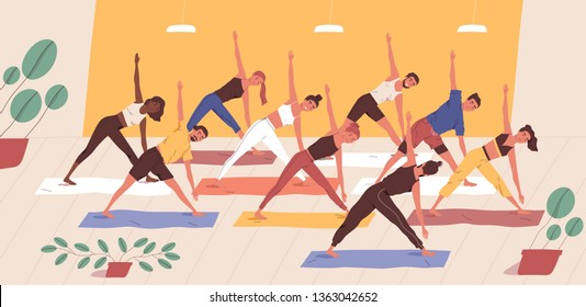 Cute funny people practicing yoga together. Group of smiling active men and women performing gymnastic exercise. Aerobics class, training, sports activity. Flat cartoon colorful vector illustration.