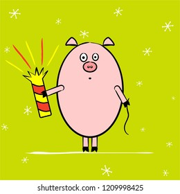 Cute funny piggy with petard, a symbol of 2019 year for your postcard or poster. Gift. Vector illustration.