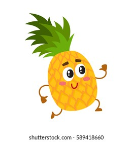 Cute and funny pineapple character running with thumbs up, cartoon vector illustration isolated on white background. Active funny pineapple character, mascot running with thumbs up