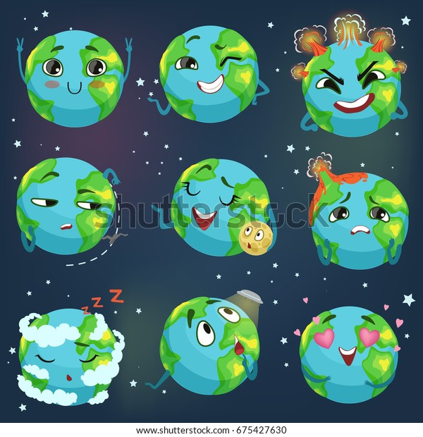 Cute Funny Planet Earth Emoji Showing Stock Vector Royalty