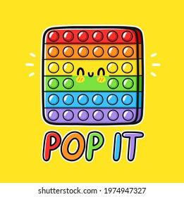 Cute funny Pop it popit fidget sensory toy logo design. Vector hand drawn cartoon kawaii character illustration icon.Pop it popit fidget kids sensory toy doodle cartoon character logo template concept