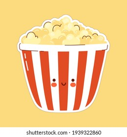 Cute funny Popcorn character. Vector hand drawn cartoon kawaii character illustration icon. Isolated on white background. Popcorn character concept