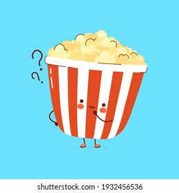 Cute funny Popcorn with question marks. Vector hand drawn cartoon kawaii character illustration icon. Isolated on white background. Popcorn think concept