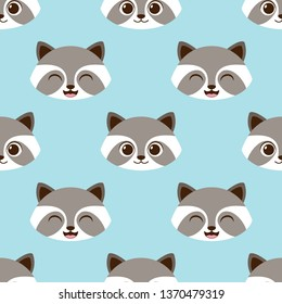 Cute funny raccoon vector seamless pattern. Cartoon racoon character head face emoji. Simple kawaii happy animal nursery repeat background
