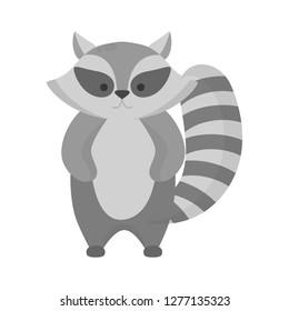 Cute funny racoon with black and grey fur. Animal from wildlife with furry tail. Isolated flat vector illustration