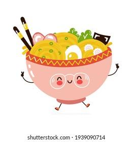 Cute funny Ramen bowl character. Vector hand drawn cartoon kawaii character illustration icon. Isolated on white background. Ramen bowl character concept