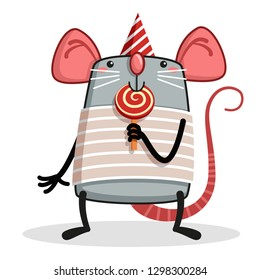 Cute funny rat and tasty candy