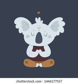 Cute funny relaxing koala bear in yoga pose. Zoo wild animal. Isolated cartoon animal character illustration. For print, poster, calendar, decoration, textile, card