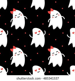 Cute funny romantic couple of ghosts halloween seamless pattern background.