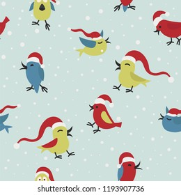 Cute funny santa claus birds seamless pattern Elements for christmas greeting card, poster design. Vector illustration