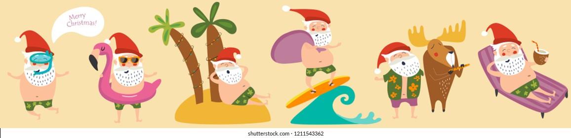 Cute funny Santa Claus in tropics. Vector set.