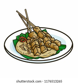 "Cute and funny ""Sate Padang"", a tradtional Satay food from Padang, Sumatera, Indonesia - vector"