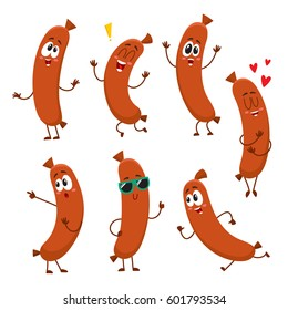 Cute and funny sausage characters with human face showing different emotions, cartoon vector illustration isolated on white background.