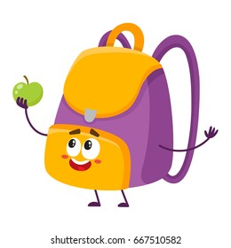 Cute and funny school bag, backpack character with smiling human face holding an apple, cartoon vector illustration isolated on white background. Smiling student bag, backpack character, mascot