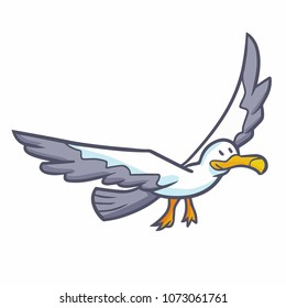 Cute and funny seagull flying and smiling happily - vector.