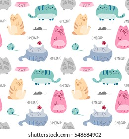 f8958ddde0a42 Cute funny seamless pattern with cats and accessories. Kawaii cat  background. Vector illustration.