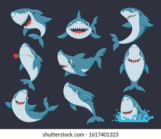Cute funny shark flat vector illustrations set. Adorable sealife stickers pack. Smiling underwater animal with sharp teeth isolated on black background. Humorous fish, happy ocean predator